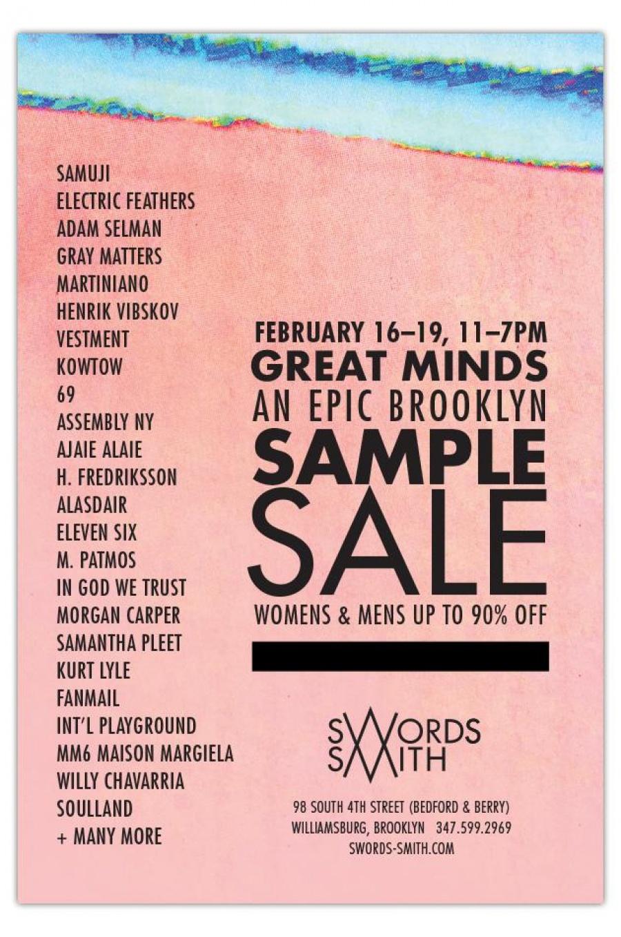SWORDS-SMITH Great Minds Sample Sale